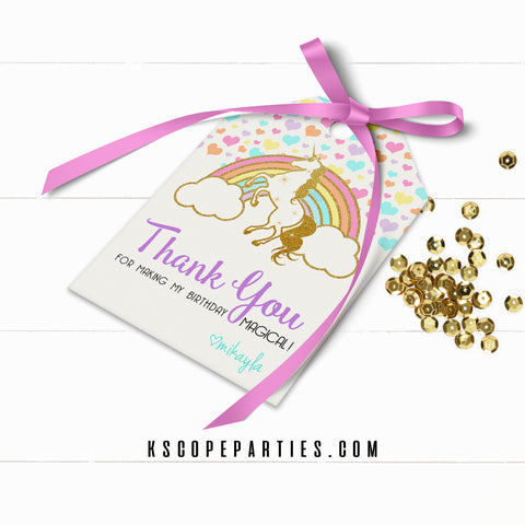 Unicorn Rainbow Favor Tags