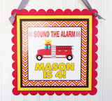 Fireman Personalized Door Party Sign