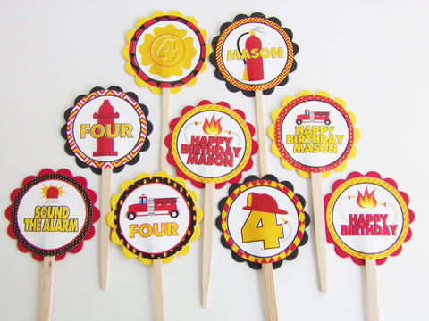 Fireman Personalized Cupcake Toppers (24 pc)