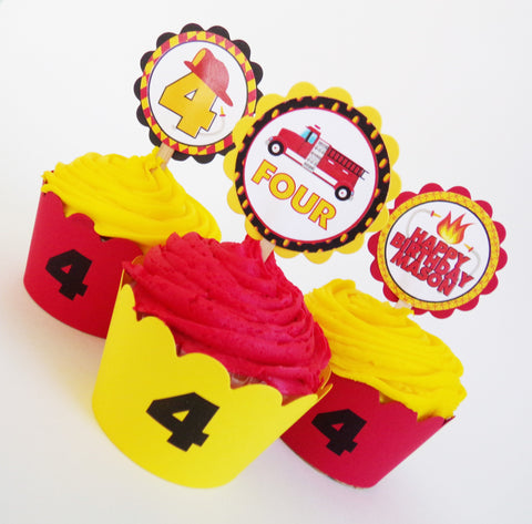 Fireman Personalized Cupcake Toppers & Wrappers Set