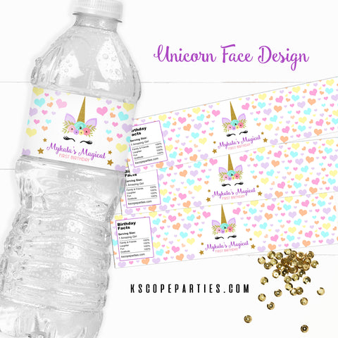Unicorn Face Water Bottle Labels