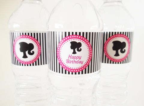 Vintage Doll Silhouette Water Bottle Labels