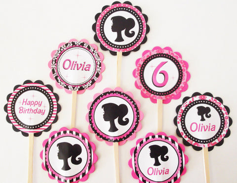 Vintage Doll Silhouette Personalized Cupcake Toppers (24 pc)