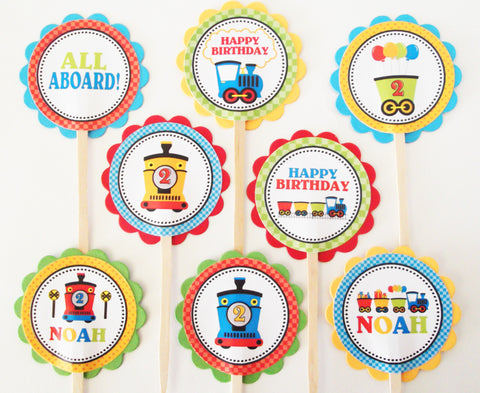 Birthday Train Personalized Cupcake Toppers (24 pc)