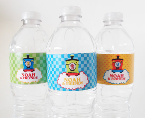 Birthday Train Personalized Water Bottle Labels