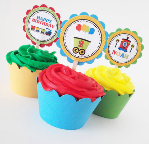 Birthday Train Personalized Cupcake Toppers & Wrappers (12 pc)