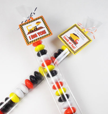 Construction Mini Favor Tags and Candy Bags