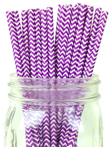 Paper Straws {Purple Chevron}