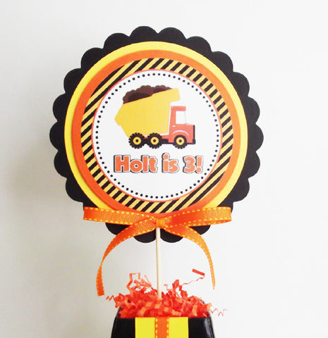 Construction Party Personalized Centerpiece Topper