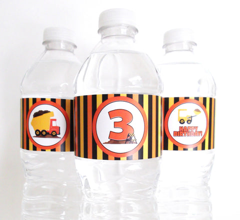 Construction Water Bottle Labels
