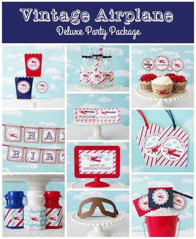 Vintage Airplane Deluxe Birthday Party Package