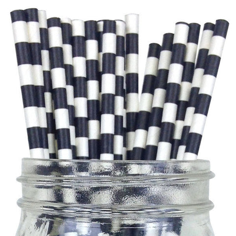 Paper Straws {Black Horizontal Stripe}