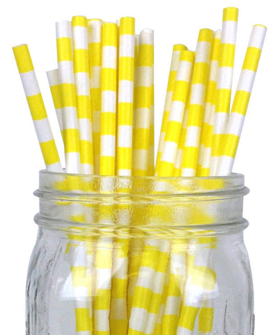 Paper Straws {Yellow Horizontal Stripe}