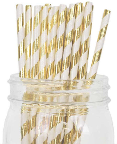 Paper Straws {Gold Metallic Stripe}