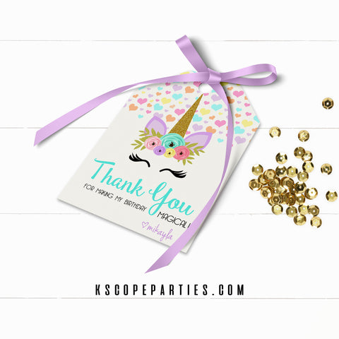 Unicorn Face Favor Tags