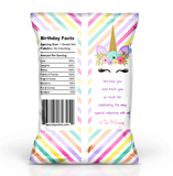 Unicorn Rainbow Birthday Potato Chip Bags