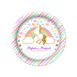 Unicorn Rainbow Birthday Personalized Dinner Plates {Free Shipping}