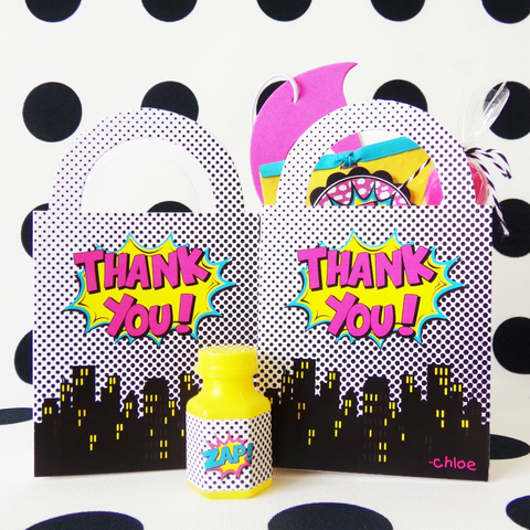 Girl Superhero Party Favor Bags