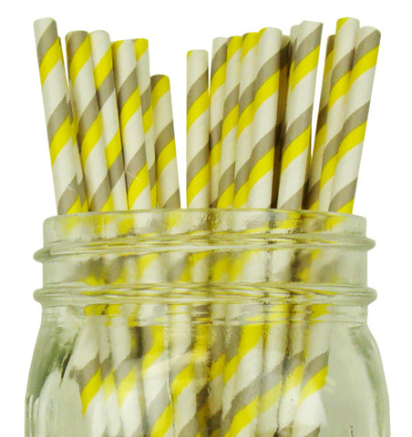 Paper Straws {Yellow & Grey Stripe}