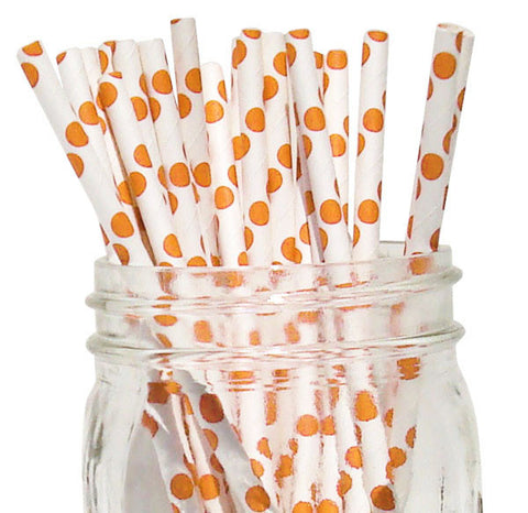 Paper Straws {Orange Large Dot}
