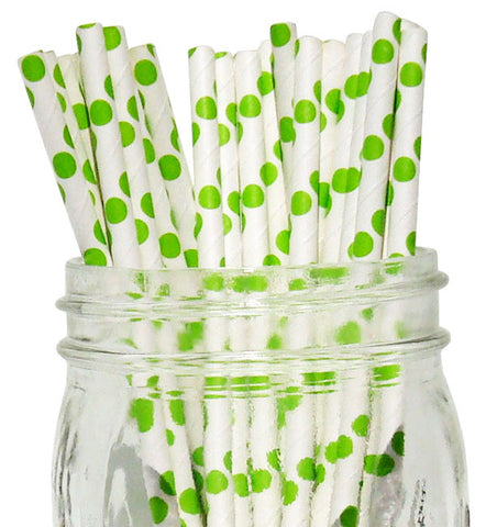Paper Straws {Lime Large Dot}