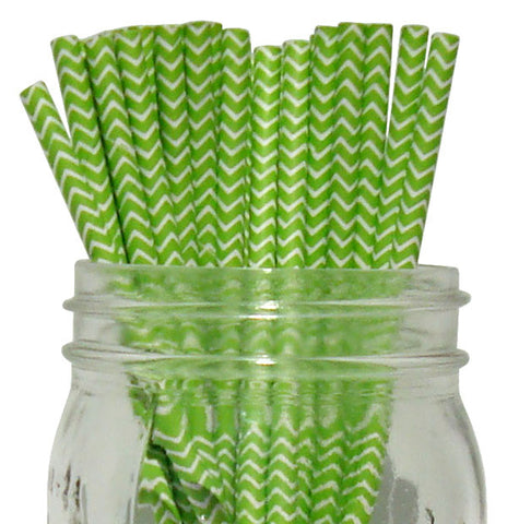 Paper Straws {Lime Chevron}
