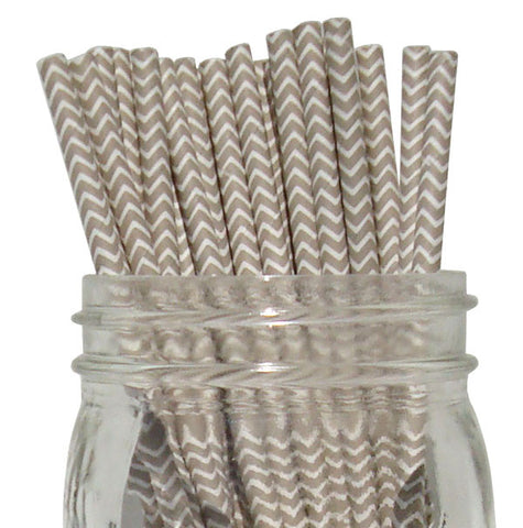 Paper Straws {Grey Chevron}