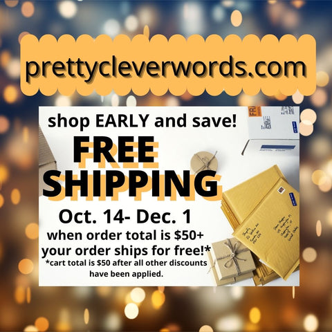 pretty clever words free shipping