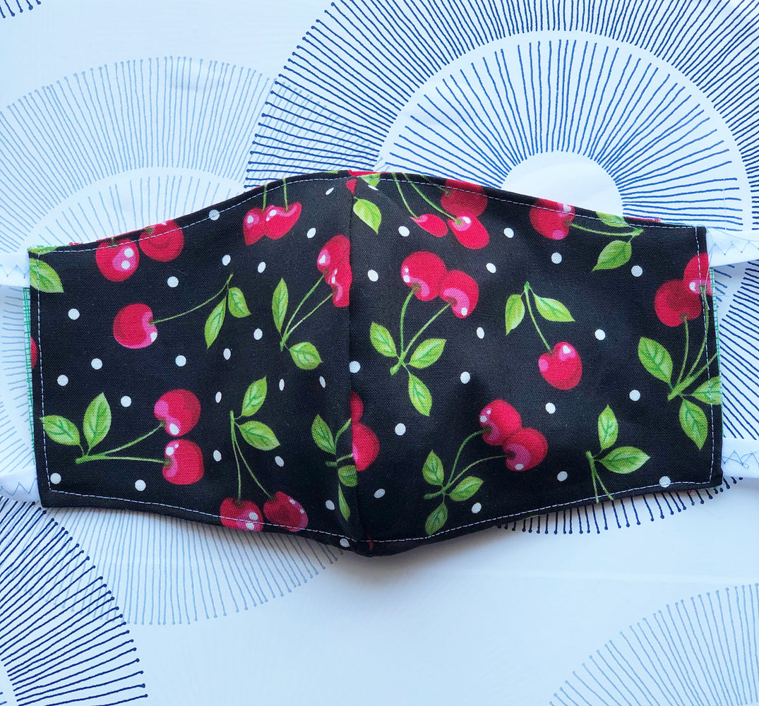 Cotton Face Mask with Filter Pocket - Cherries