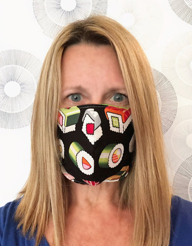 Cotton Face Mask with Filter Pocket - Sushi Blues