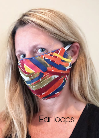 Cotton Face Mask with Filter Pocket - BATIK BLUES AND BROWNS