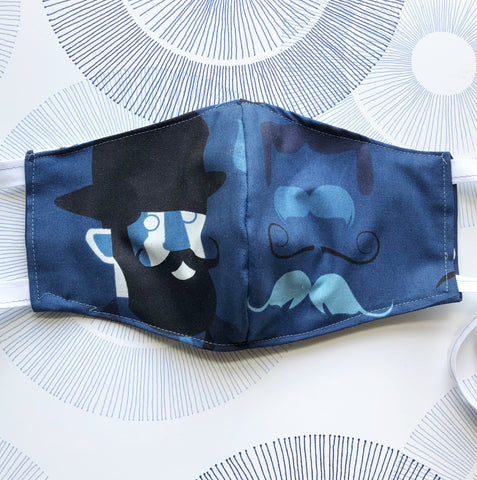 Cotton Face Mask with Filter Pocket - Blue Man