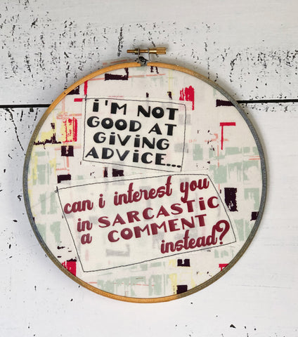 sarcastic comment hoop art