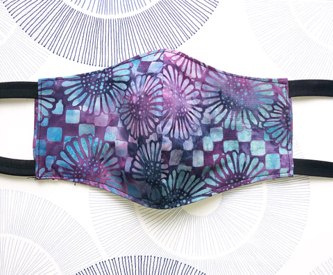 Cotton Face Mask with Filter Pocket - Purple Pink Batik Fabric