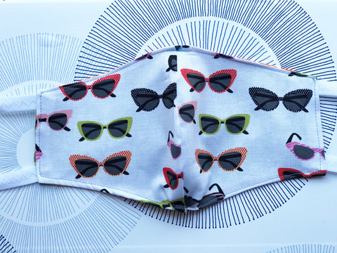 Cotton Face Mask with Filter Pocket - Sunglasses