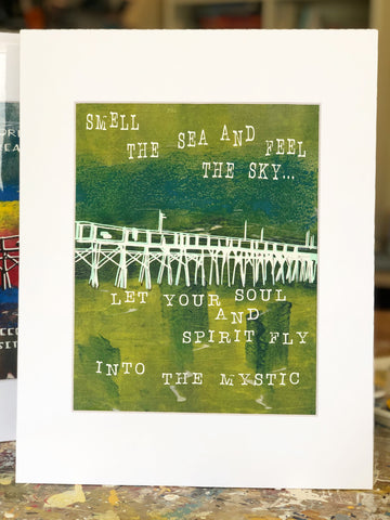 pretty clever original monoprint in inks and paints of greens and yellows