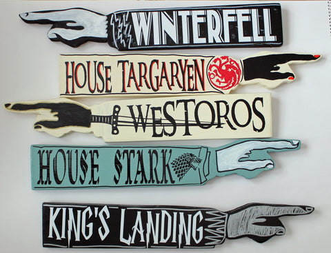 Thrones Collection - wooden pointy finger signs