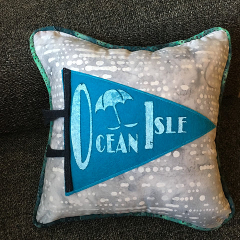 Ocean Isle Beach pennant pillows