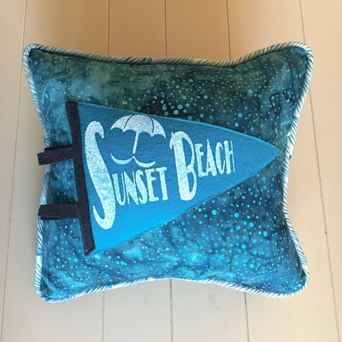 Sunset Beach pennant pillows