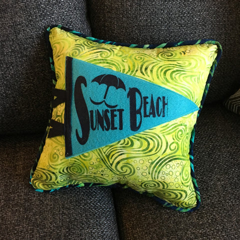 Sunset Beach pennant pillows - Pretty Clever Words