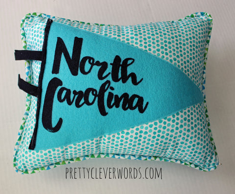 vintage style pennant pillow - North Carolina love