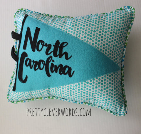 vintage style pennant pillow - North Carolina love - Pretty Clever Words