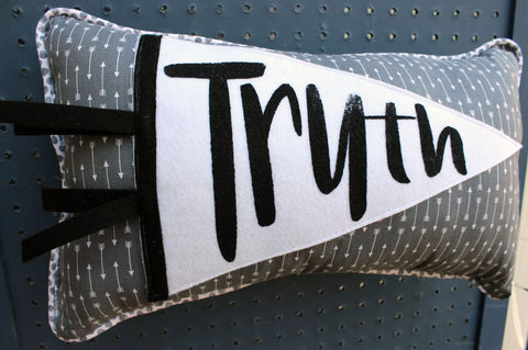vintage style pennant pillow - Truth