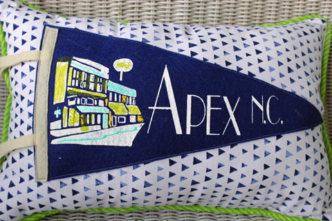 vintage pennant pillow Apex NC - Pretty Clever Words