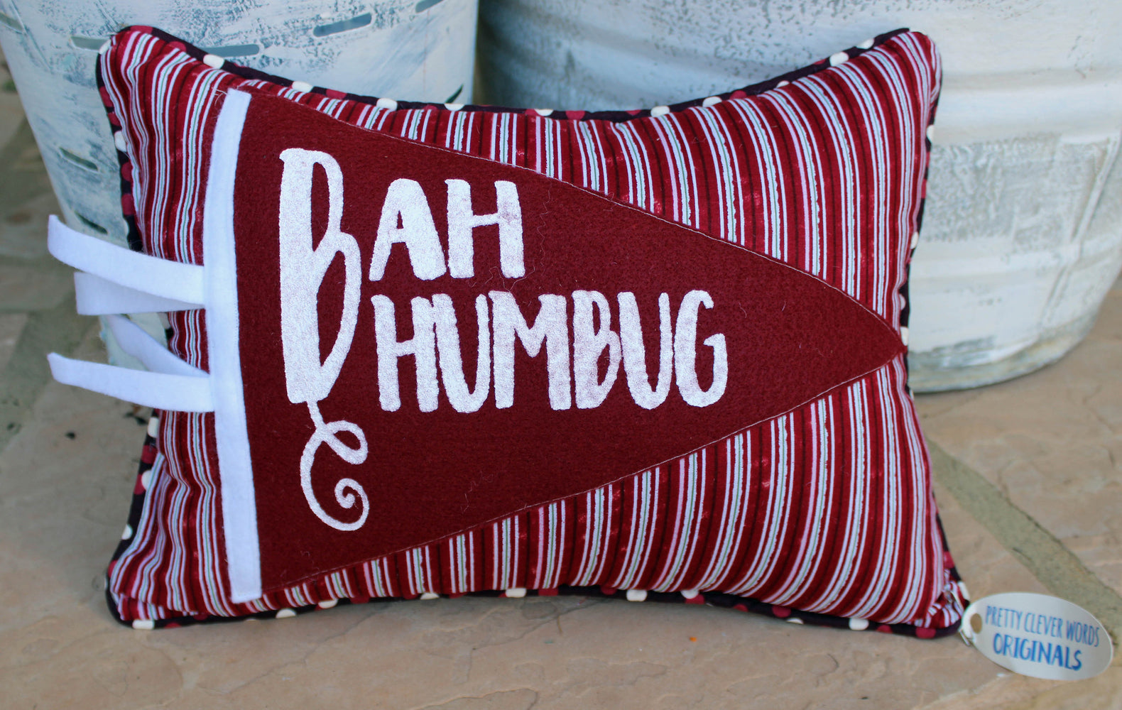 Vintage Style Pennant Pillow   Bah Humbug