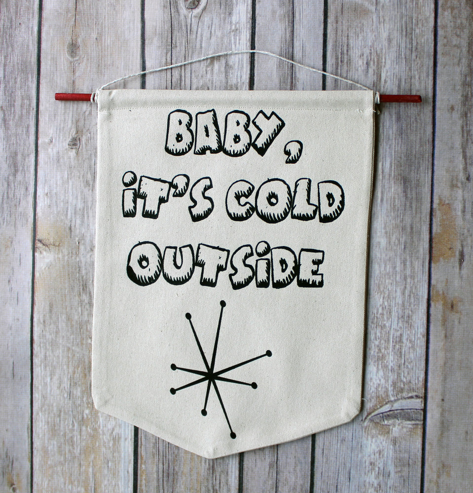 baby, it's cold outside - holiday canvas word art banner