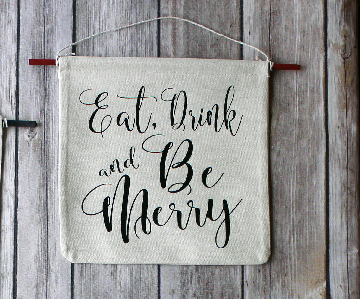 eat, drink and be merry - holiday canvas banner
