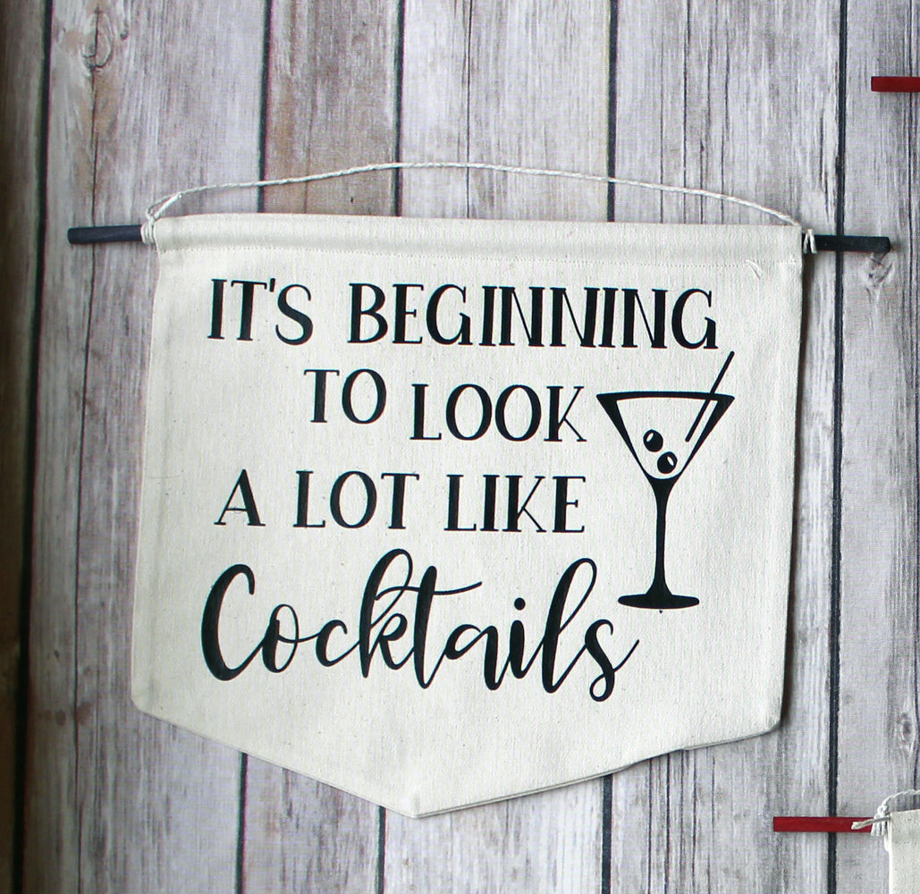 it's beginning to look a lot like cocktails - holiday canvas banner