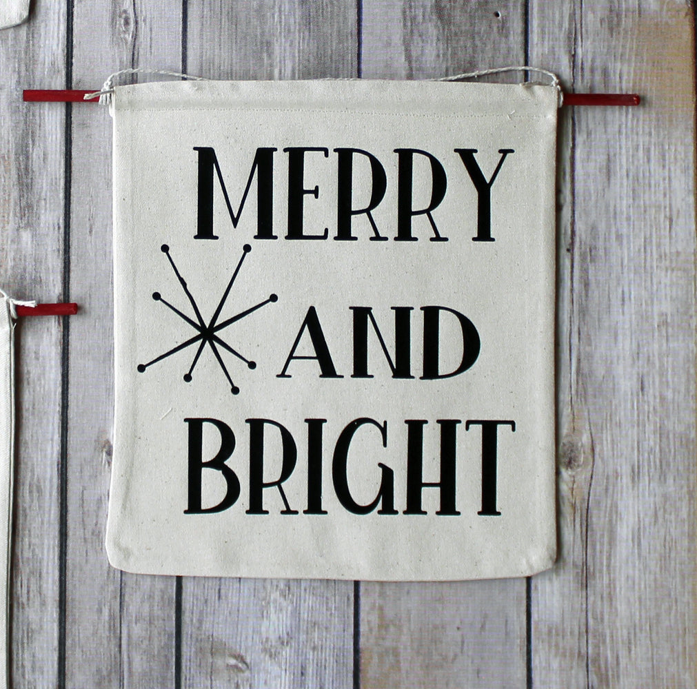 merry and bright - holiday canvas banner