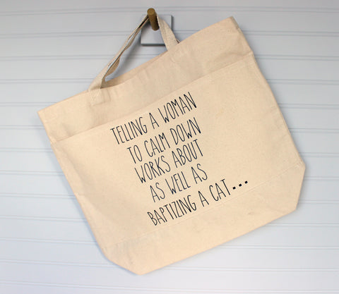 baptizing a cat - tote or zip bag - Pretty Clever Words